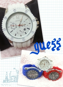 guess sporty watch grosir@50rb, eceran@65rb unisex, tali bahan rubber karet, diameter 5cm