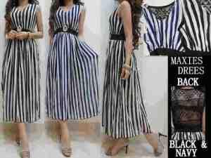 Ip8896 long dress stripe -  60rb, sz L25-42,P130 chiffon