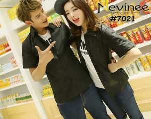 Cp1060 couple kemeja black - 90rb fit to L, bahan katun