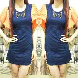 ip8974 navy dress - 30rb sz L38 P80 spandek rayon