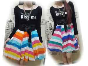 ip8997 rainbow dress - 50rb sz L38 P95 spandek + katun rayon + obi dan ada sleting