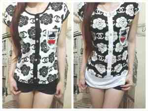 Ip9146 chanel flower tee - 35rb sz L50 P70 bahan high get(1)