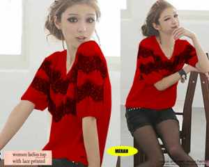 Ip9301 top lace red - 45rb sz L50 P68 bahan spandek, fit to XL