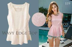 Ip9467 wave edge top - 78rb sz L35-44 P65 bahan thick cotton embroidery IMPORT BANGKOL PEMIUM QUALITY