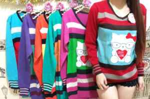Ip9519 sweter kitty - 35rb sz L45 P74 bahan knitted rajut