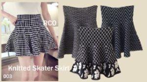Ip9662 knitted skater skirt - 64rb sz L20-44 P46 bahan knitted import tebel (import bangkok)