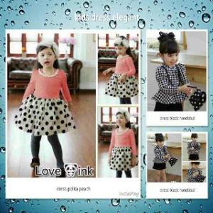 Ip9718 kids dress elegant  - 45rb sz L36 P60 spandek, free kalung mutiara