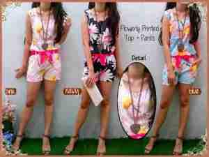 Ip9767 stelan flowerly printed - 58rb sz baju L44 P60, celana L32-42 P35 bahan katun silky