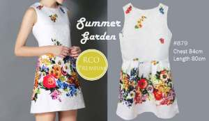 Ip9778 summer garden premium dress  @ 95rb sZ L45 P95 bahan cotton thick embro, import premium Bangkok