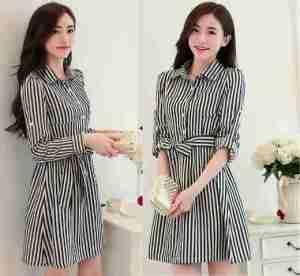 Ip9779 dress kelly stripe - 60rb sz L48 P88 bahan katun rayon, belt nyatu, fit to L
