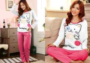 Ip9791 sleepwear cat - 58rb sz baju L55 P62, celana L26-56 P94 bahan katun combed,  fit to XL