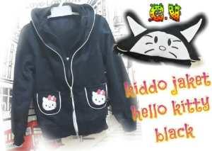 Jaket kiddo hello kitty black @50rb, double sleting, sz L45 P52 bahan fleece, bisa utk 5-7thn