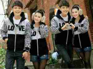 Cp1090 couple Jacket Love Leo misty - 90rb, sz cew L50 P60, cow L55 P65 bahan babyterry
