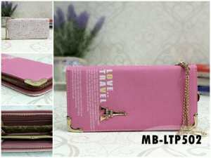 Dompet love travel paris soft pink - 80rb