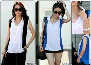 Ip10003 collar combine shirt - 45rb sz L54 P68 spandek korea