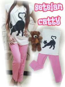 Ip10006 setelan catty pink - 50rb sz baju spandek L46 P68, celana katun L26-54 P86