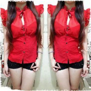 Ip10019 blouse erine - 48rb sz L36-46 P62 bahan chiffon comb rayon