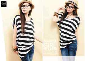 Ip10042 stripe blouse - 38rb spandek fit L+