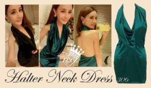 Ip10049 halter neck dress - 75rb sz L40 P80 bahan satin stretch, IMPORT BANGKOK