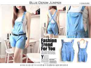 Ip1011 blue denim jp domi - 68rb, fit to L, bahan katun rayon denim + inner spandek dan belt