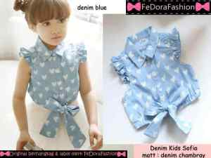 Ip10144 denim kids sofia - 46rb sz L36 P36 bahan denim chambray uk 4-6thn