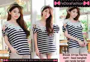 Ip10157 blouse stripe narnia - 48rb sz L52 P60 bahan kaos bangkok
