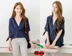 Ip10202 blouse navie - 52rb fit to L+ bahan katun rayon + inner singlet putih spandek, lengan siku