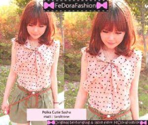 Ip10238 polka cutie sasha - 50rb sz L45 P66 bahan twiscone