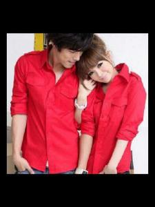 Ip1025 couple hem red edition - 110rb per pasang, cew dan cow fit L, bahan katun stretch