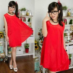 Ip1027 dress 0213 reddy - 50rb sz Ld98cm Pj85cm bahan twiscone