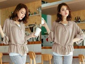 Ip1028 blouse 2009 creamy - 54rb sz Ld98cm Pj60cm bahan katun rayon, free obi (tanpa inner)