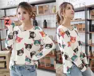 Ip1038 zipper cat @40rb (bahan kaos) fi to L