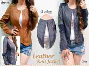 Ip1043  Molly Leather Jacket @105rb bahan Leather, fit to L
