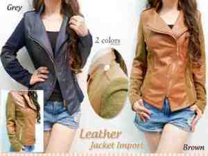 Ip1044 Chatrin Leather Jacket Import @105rb, bahan leather fit to L