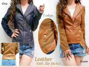Ip1045 Jesslyn Leather Jacket @105rb bahan leather, fit to L