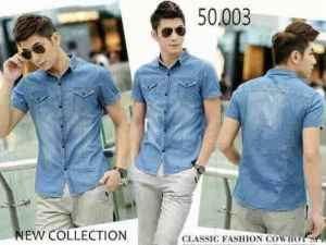 Ip1046 kemeja Jacob @75rb, bahan jeans washed, fit to L