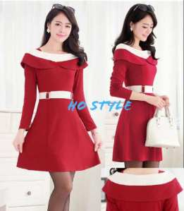 Ip1070 dress cherry - 68rb fit L bahan paragon