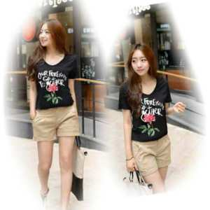 Ip1079 rose tee - 20rb sz L46 P68 bahan katun combed