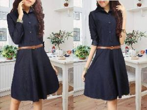 ip1095 dress gucci black - 82rb sz L48 P90 bahan jeans washed + belt