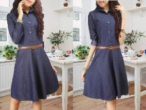 Ip1096 dress gucci navy - 82rb sz L48 P90 bahan jeans washed + belt