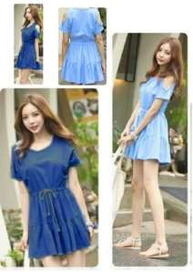 Ip1106 dress denim monic - 55rb fit L, pj85cm bahan katun rayon denim