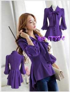 Ip1109 kemeja rainy purple - 58rb fit L bahan katun rayon