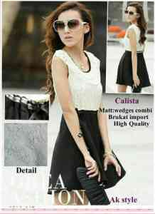 ip1211 calista dress@75rb wedges combi brukat import high Quality