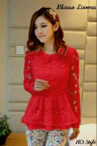 ip1214 blouse lovena @62rb, blukat + furing + twiscone + sleting belakang,  fit L