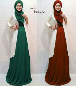 ip1243 maxi winda @100rb, fit to XL, maxi dress + bLazer + pasmina, bahan spandek
