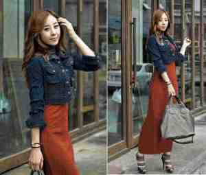 ip1245 set ponny @110rb, dress + cardi jeans washed, fit L