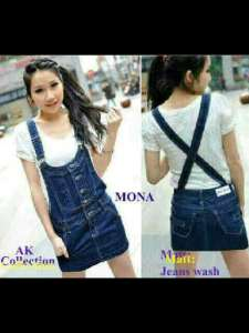 Ip1313 mona overall + inner - 78rb fit to L, Pj82cm bahan jeans washed + inner spandex