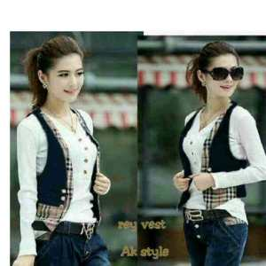 Ip1314 rey vest - 60rb, fit to L, vest bahan wedges + katun burbberry dan inner spandek