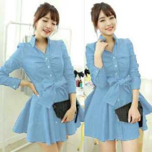 Ip1319 monaco dress soft blue - 85rb sz L32-52 P90 bahan jeans wash import