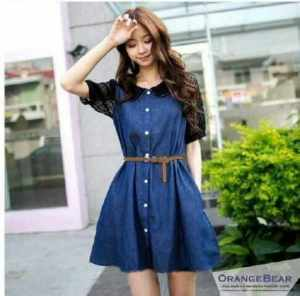 Ip1320 dress matiako - 50rb sz Ld100 P90 bahan denim rayon komb brukat + belt